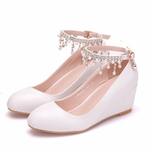 White Professional Women Work Office Rhinestone Shoes Wedges High Heels Pumps Wedding Bridal Shoes Woman Shoes Big Size XY-A0170 цена