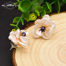 GLSEEVO Natural Fresh Water Baroque Flower White Black Pearl Stud Earrings 925 Sterling Silver Earring For Women Jewelry GE0664