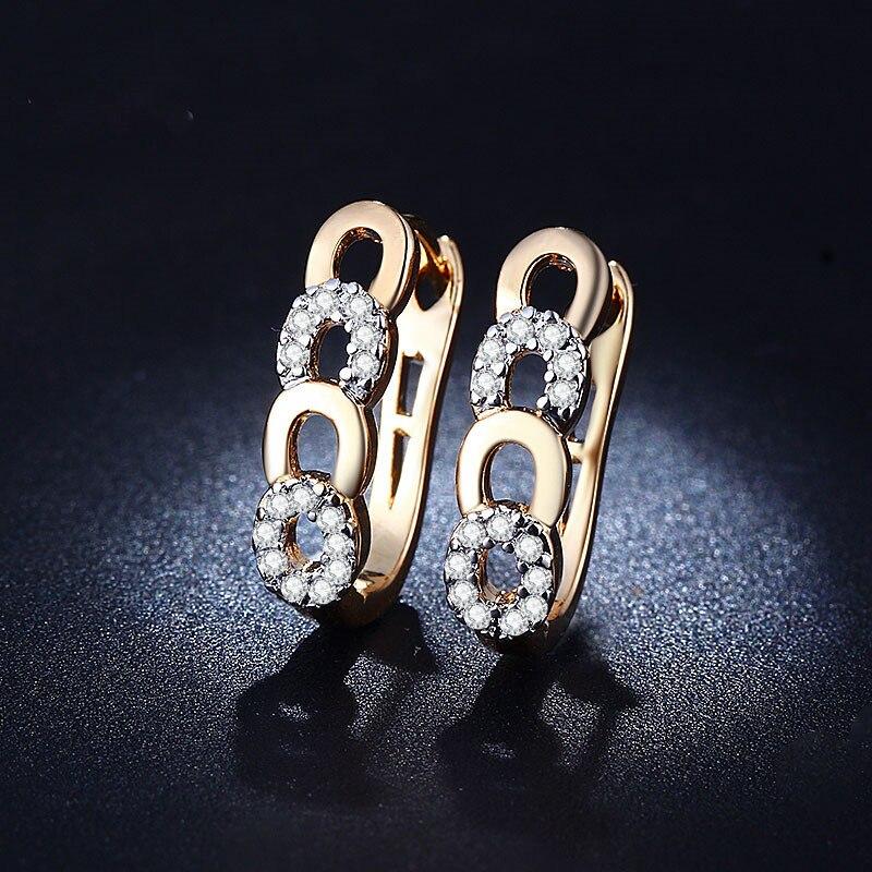 06728a9ee86c New gold Colour filled AAA CZ hoop clip on Earrings ear cuffs women hollow  bijouterie aretes broncos pendientes women LJ013
