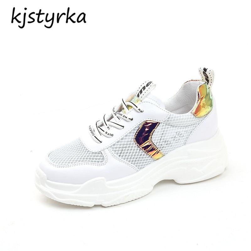 Kjstyrka sapato feminino 2018 г. женские кроссовки tenis feminino простые дышащие сетчатые повседневные модные туфли на танкетке женские эспадрильи