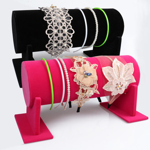 Image 1 - Samt Stirnband Haar Verschluss Display ständer Rack Frauen Stirnband Diademe Halter Schmuck Ständer für Shop Versorgung Zähler Schaufenster