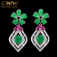 Elegant White Gold Plated Cubic Zirconia Stone And Green Emerald Dangling Flower Drop Earrings Jewelry For