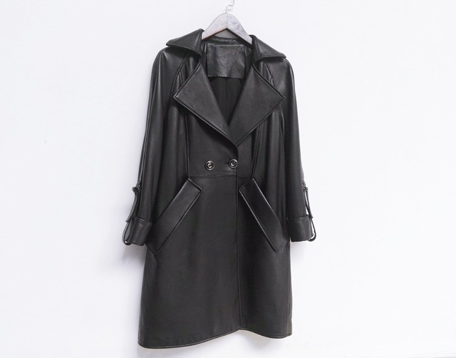 HNW001 Women Genuine Leather Long style windbreaker double breasted collar cuff jackets/4size