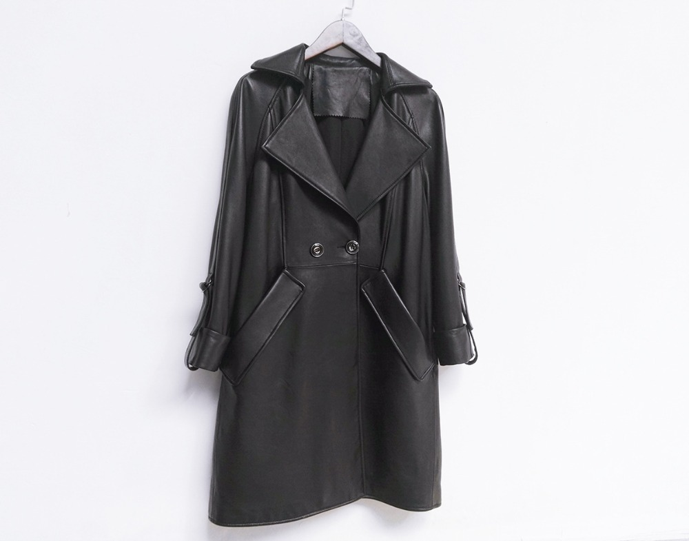 HNW001 font b Women b font Genuine Leather Long style windbreaker double breasted collar cuff font