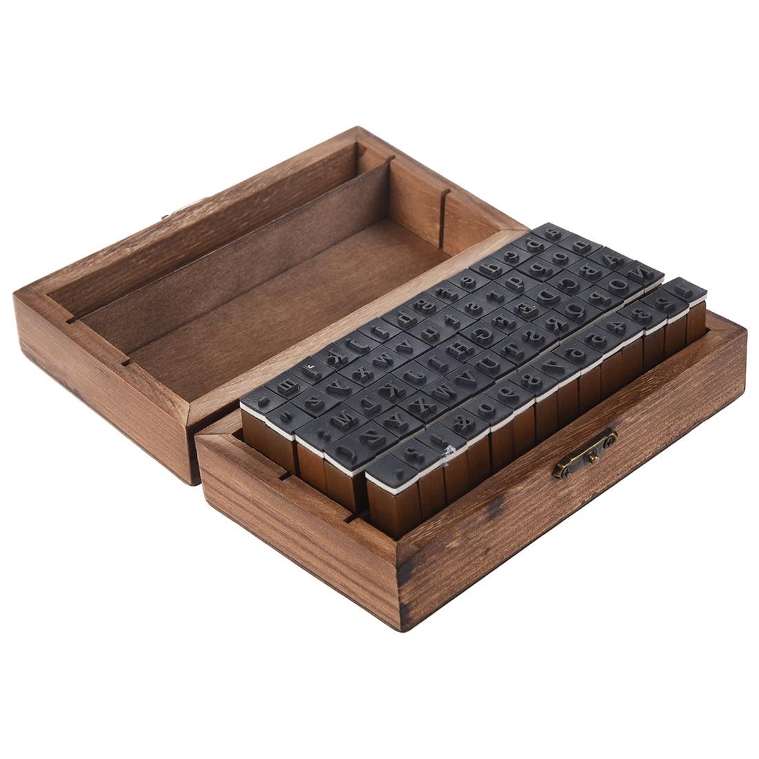 Nouveau Pack de 70 pcs En Caoutchouc Timbres Vintage Set Boîte En Bois Cas Alphabet Lettres Nombre Artisanat (Aucun Tampon Encreur inclus)