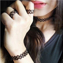 Heiße Neue Schwarz Angelschnur weben Tattoo schmuck Armbänder/Ring/Halskette Anhänger Schmuck Sets Retro Elastische Stretch choker set(China)