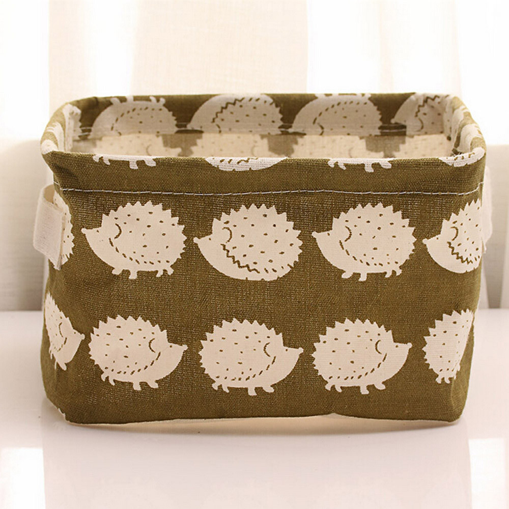 Cute Animal Printing Cotton Linen Office Desktop Storage Organizer Sundries Storage Box Cabinet Underwear Storage Basket #555 1