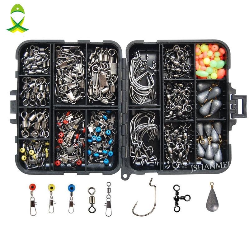 JSM 160pcs/box Fishing Accessories Kit Including Jig Hooks fishing Sinker weights fishing Swivels Snaps with fishing tackle box