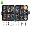 JSM 160pcs Box Fishing Accessories Kit Including Jig Hooks Fishing Sinker Weights Fishing Swivels Snaps With