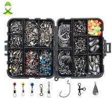 JSM 160pcs/box Fishing Accessories Kit Including Jig Hooks f