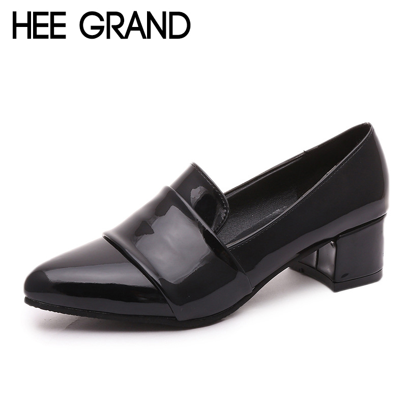 HEE GRAND Fashion Design Women Pumps Square Heel Oxfords Pointed Toe Woman's Spring&Autumn Casual Work Wearing Shoes XWD6716 hee grand pointed toe pumps british style med heels patchwork t strap oxfords shoes woman casual vintage pump shoes xwd2469