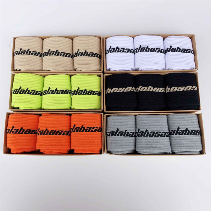 3 pairs of unisex   socks   Calabasas   socks   letter cotton long   socks   hip hop streetwear kanye west popsocket Harajuku   socks