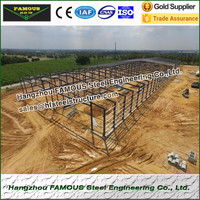 Hot galvanized steel structure warehouse/workshop built near sea and ocean