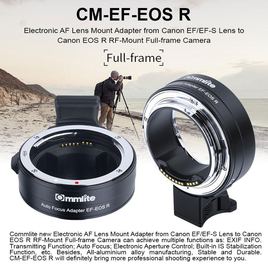 Adaptateur de monture d'objectif Yiwa Commlite EF/EF-S AF pour objectif Canon EF/EF-S vers adaptateur d'objectif de caméra plein cadre EOSR RF