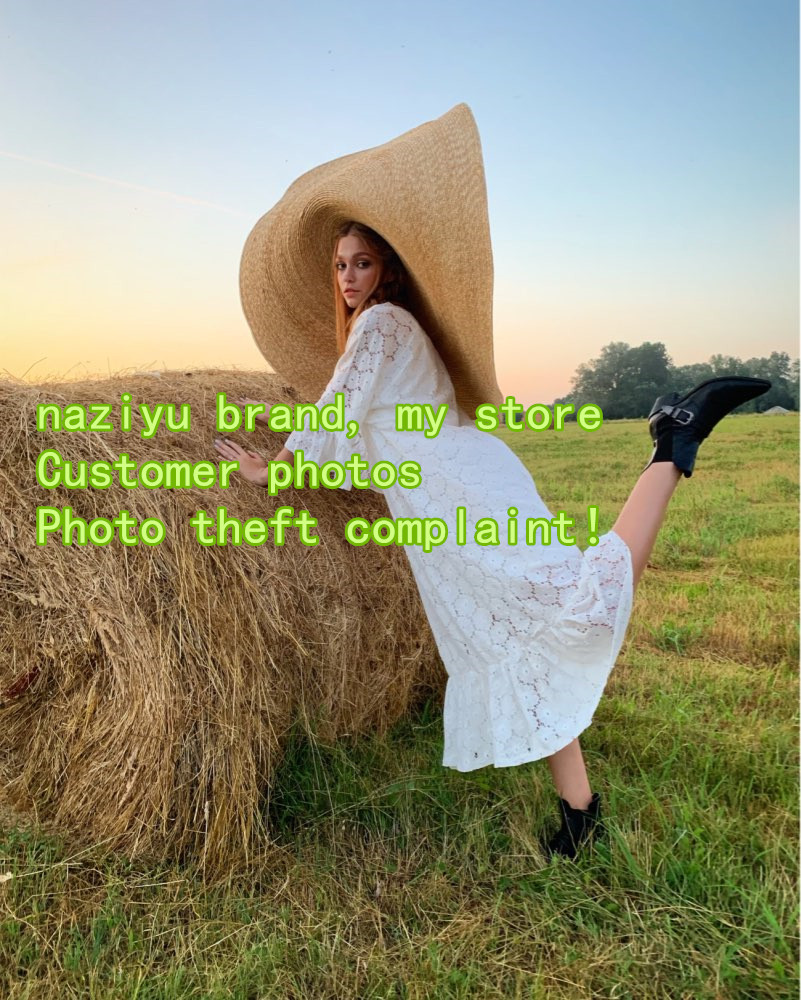 Image 4 - pre sale, about 1.1 m ,more than 1m handmade straw very big 45cm brim wedding sun cap women  leisure hat take photo-in Women's Sun Hats from Apparel Accessories