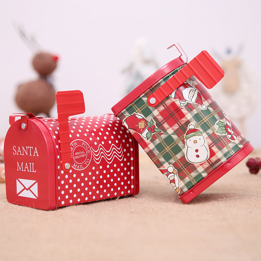 Christmas Decor Candy Gift Tin Box Kids Gift Mailbox Case Christmas Santa Claus Snowman Printed Sealed Jar Packing Boxes AF092