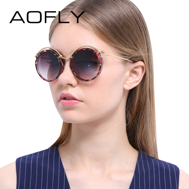 AOFLY Round Sunglasses Women Fashion Lady Sun glasses Metal Frame Brand Designer Circle Retro Vintage Sunglasses Oculos Goggles