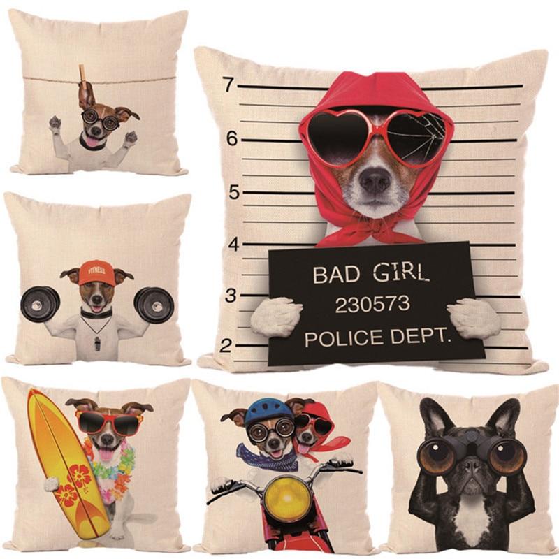 Fashion Animal Lovely Cute French Pug Dog Ride Cushion Children Square Decor Car Sofa 1 Side Pront Throw Pillowcase Almofada