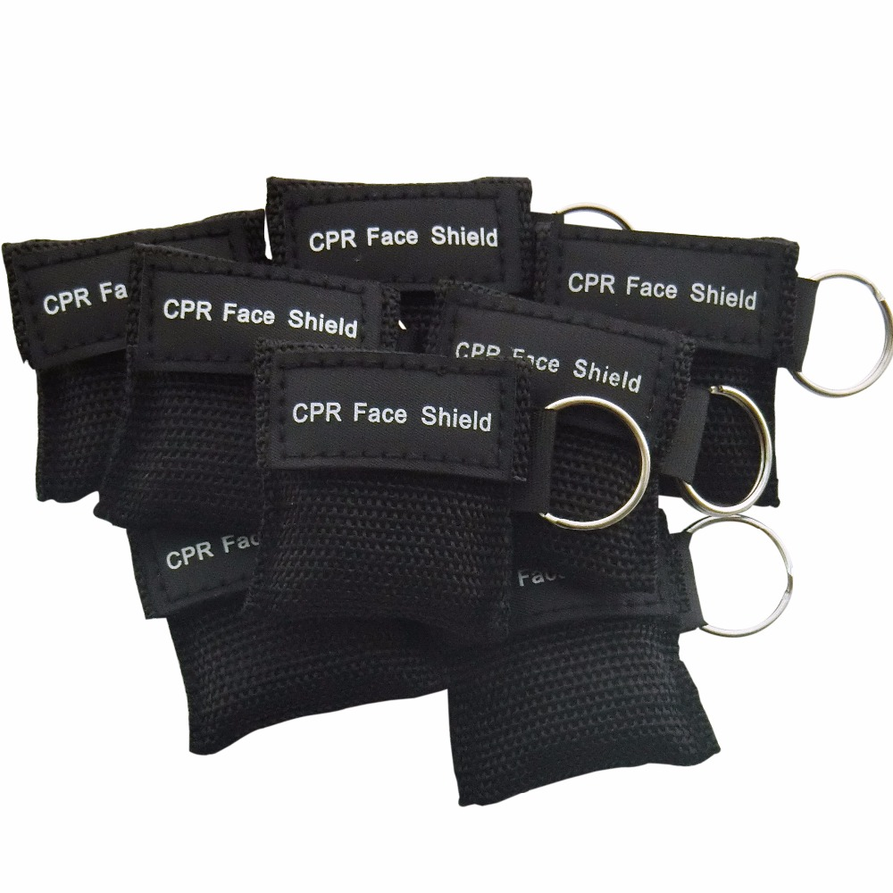 130 Pcs CPR Resuscitator Keychain Mask Key Ring Emergency Rescue Face Shield Black new 10pcs pack big first aid cpr rescue face shield mask portable face shield oxygen inlet resuscitator