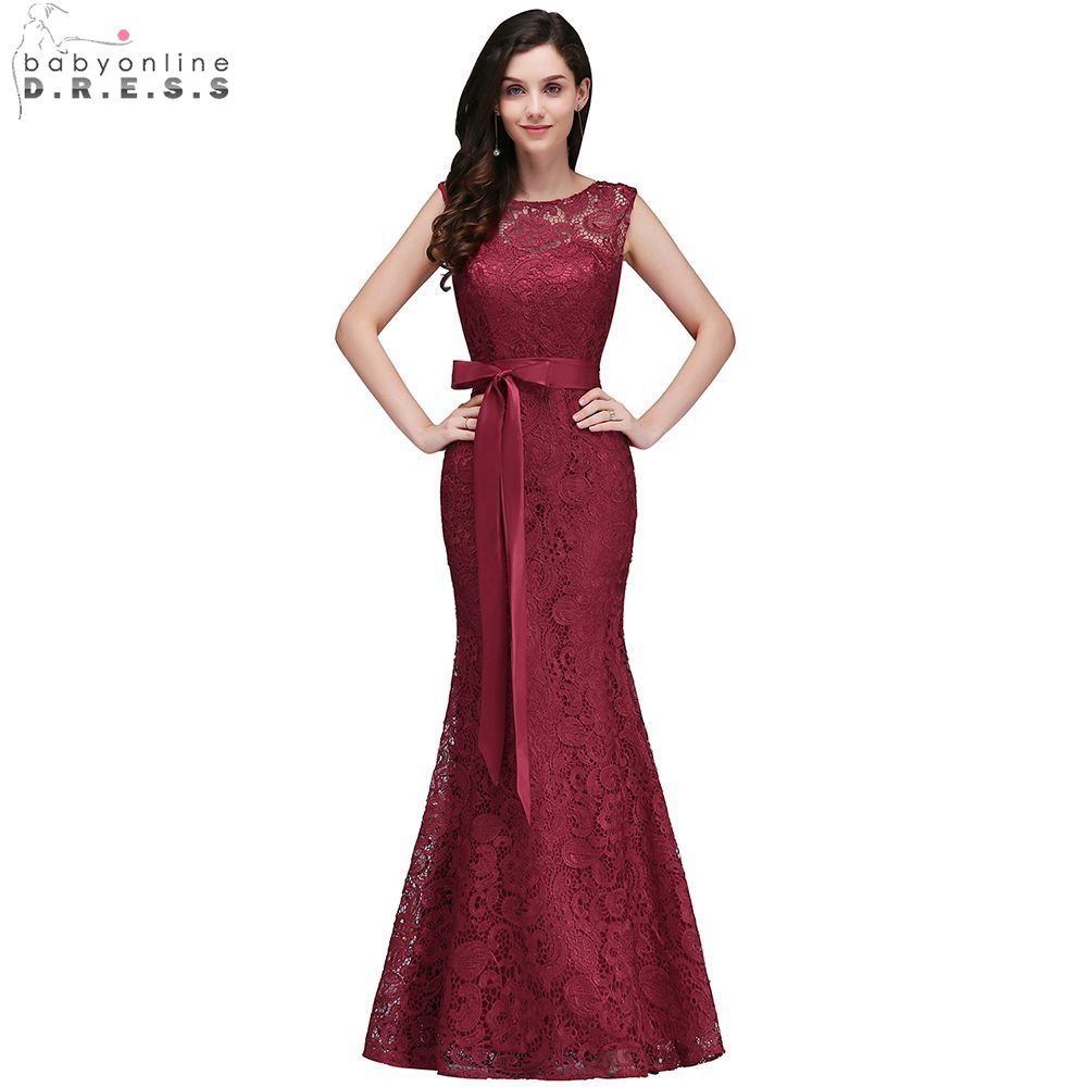Elegant Burgundy Lace Mermaid Evening Dresses 2019 Sleeveless Formal Party Dresses With Belt vestido de festa longo(China)