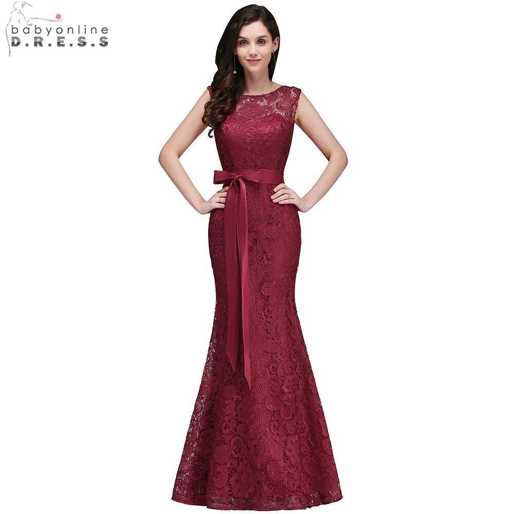 Elegant Burgundy Lace Mermaid   Evening     Dresses   2019 Sleeveless Formal Party   Dresses   With Belt vestido de festa longo