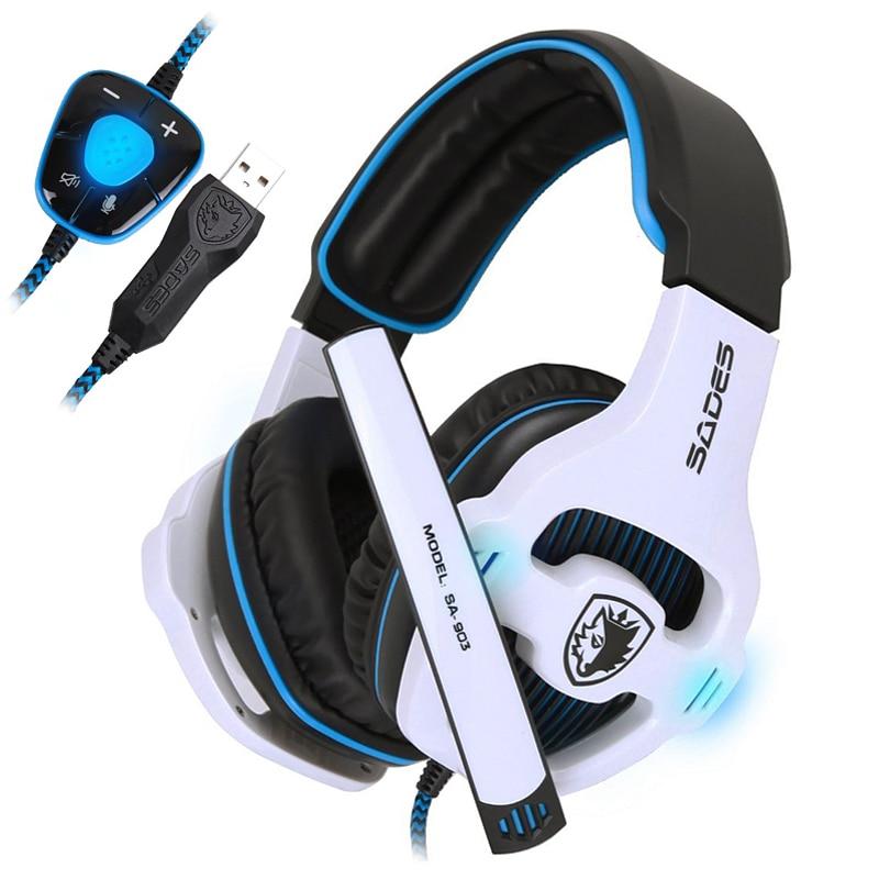 SADES SA903 USB Gaming Headphone PC Game Headset With External USB Sound Card Microphone