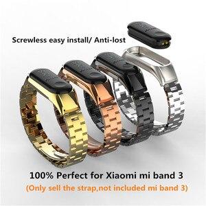Image 3 - Mi band 3 mi band 4 ersatz Metall Strap handgelenk strap Edelstahl Armband Armbänder MiBand 3 strap für Xiaomi mi band 4