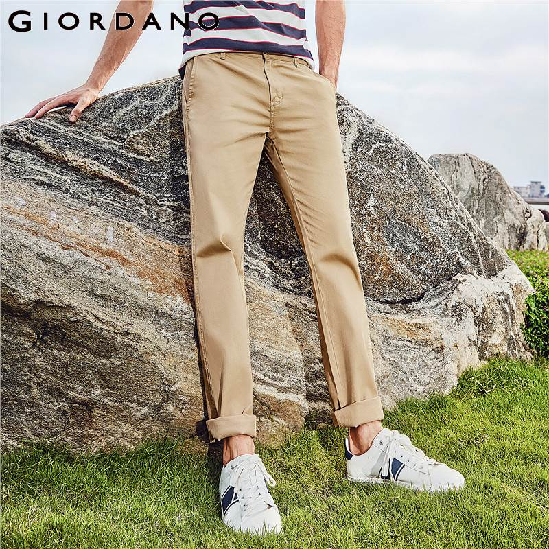 Giordano Men Pants Men Khaki Pantalon Homme Slim Pants Men Quality Trousers Men Cotton Business Casual Modern Pantalones Hombre