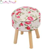 1:12 Doll House Mini Round Pub Bar Stool Wooden Floral Chair Furniture Dollhouse Decoration Mini Furniture Accessories(China)