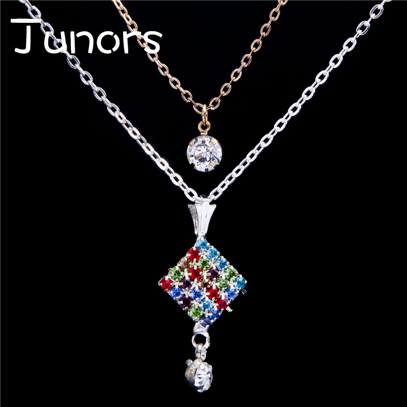 JUNORS Square color rainbow choke Pendant Necklace Beads Necklace Gravity falls necklace Moon glow necklace