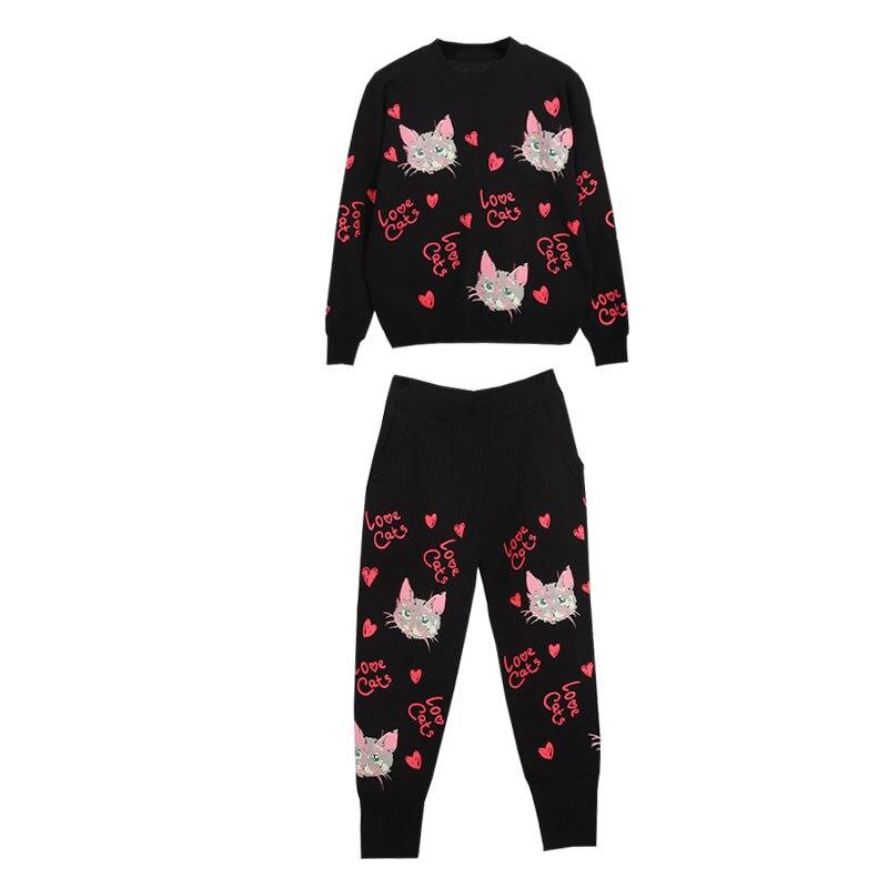 Модный весенний женский комплект 2 шт. свитер с принтом кота; вязаный костюм со штанами; комплект из двух предметов - 5