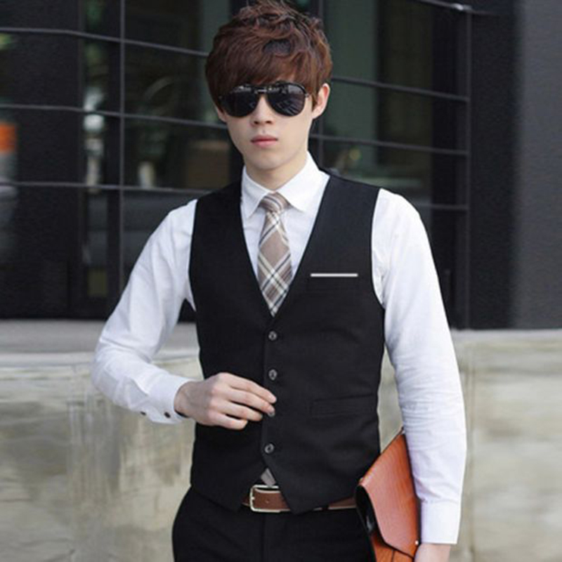 2017 New Fashion Formal Men Suit Vests Brand Quality Slim Fit Solid Color  Business Office Dress Waistcoat Vest Black Gray Navy In Vests From Menu0027s  Clothing ...