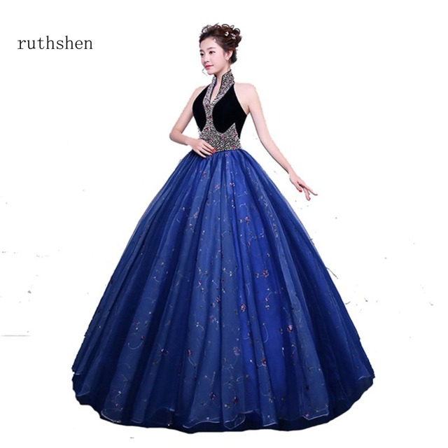 709222d78 ruthshen 100% Real Photo Cheap Beadings Quinceanera Gowns Vestidos Anos Quinceanera  2018 Sweet 16 Dresses High V Neck Sleeveless
