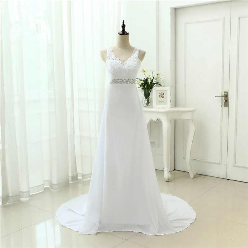 2019 Chinese Hand Made Beading Wedding Dress Chiffon Low Back Sexy Applique Lace Beach Vestidos De Novia Robe De Mariage JL0097