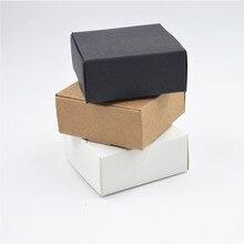2000 stks/partij Maat 9*8.6*1.6cm Wit papier dozen voor verpakking, zwarte doos kraft kaart papier, Bruin kraftpapier dozen geschenkdoos