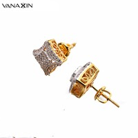 Free Shipping Pierced Square Clear Cubic Zirconia Punk Earrings Stud Earrings For Mens Womens