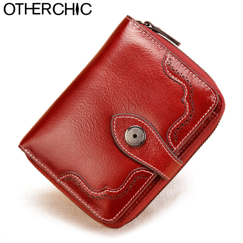 OTHERCHIC Vintage Genuine Real Leather Women Short Wallets Small Wallet Coin Pocket Card Holder Female Purses Money Bag 6N08-05 otherchic genuine leather women short slim wallets small wallet zipper coin pocket purse female purses mini money clip 7n03 26