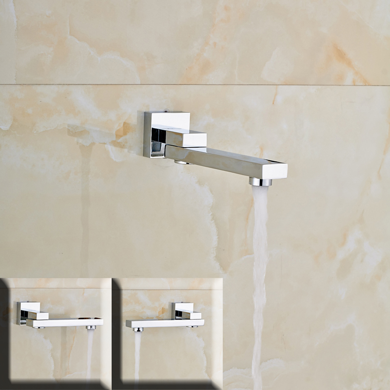 Free Shipping Chrome Bath Shower Tub Spout Filler Wall Mounted Bathroom Faucet Accessories