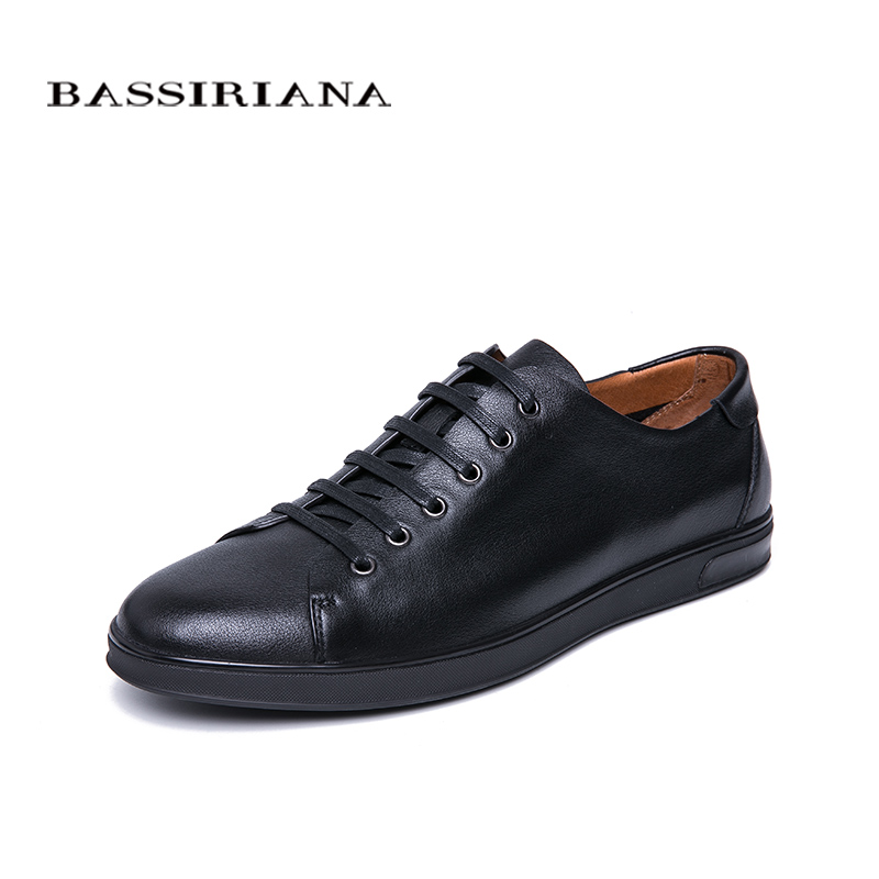 BASSIRIANA New 2019 Genuine Leather men casual shoes lace up comfortable round toe spring autumn 39-45 size handmade soft soleBASSIRIANA New 2019 Genuine Leather men casual shoes lace up comfortable round toe spring autumn 39-45 size handmade soft sole