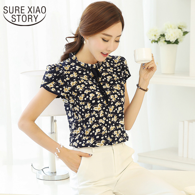 Pastoral Wind Sweet Style 2019 New Summer  Chiffon and Blouse Shirt Sweet Floral Shirt Tie Loose Shirt Printing 37i 30