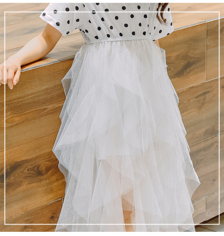 2019 Brand Girls Summer Print Dot Dress Girls Short Sleeve Mesh Princess Cute School Perform Party Fashion Dress Kid Clothes Hot 6