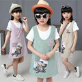 2016 корейских Детей Одежда Набор Девушка Платье Жилет Платье и майка 2 шт. Девушка Комплект одежды Лета размер 110-160