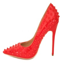Sexy Red Rivets Pointed Toe Women Pumps Patent Leather Slip-on Stiletto Heel Wedding Shoes 12cm Banquet Studded Shoes Big Size almudena hot sale black sexy rivets stiletto heels pointed toe patent leather dress pumps women ultra high heel studded shoes