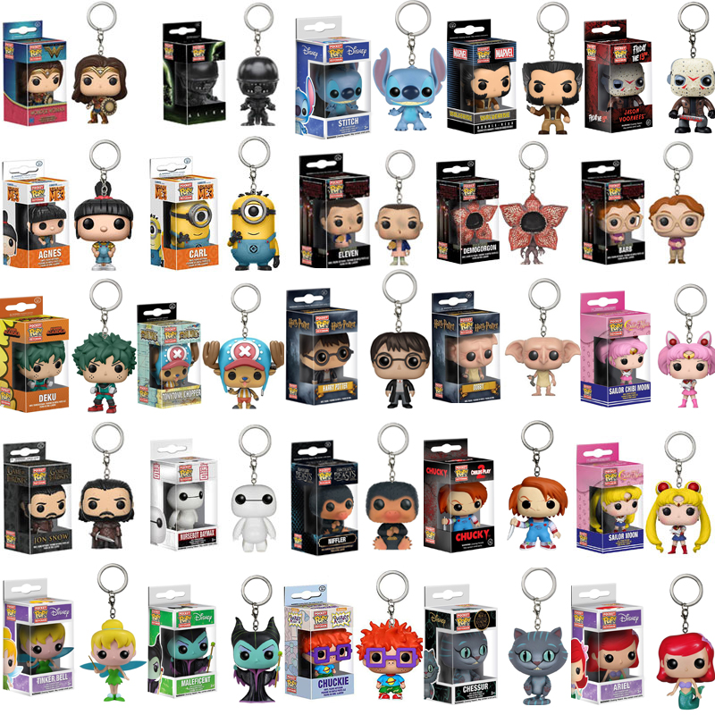 Funko POP DISNEY Keychain MALEFICENT Chessur Goose STITCH HARRI POTTER PVC ACTION FIGURE ARIEL COLLECTION TOYS FOR KIDS GIFT