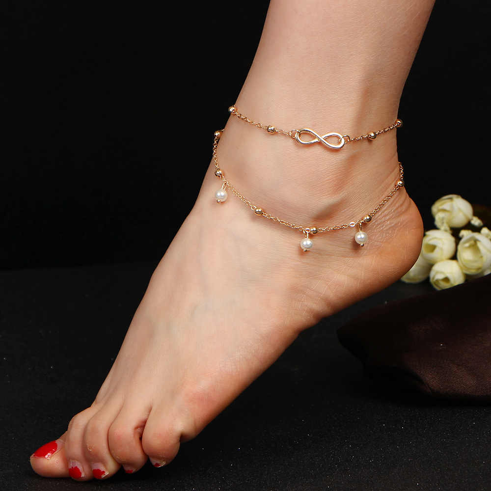 アンクレット模擬パールインフィニティチャームビーズ足首のブレスレットのため女性脚チェーン裸足サンダル足のジュエリーアクセサリー
