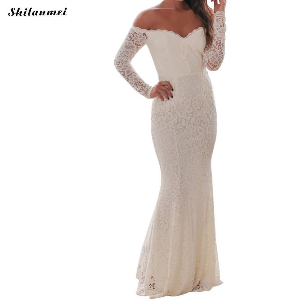 Nouvelle femme élégante épaule dénudée blanc noir dentelle longueur de plancher robe de soirée à manches longues femme enveloppé poitrine robes longues