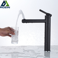 Black Swive Spout Basin Faucet Deck Mounted Bathroom Vessel Sink Mixer Tap Single Lever 360 Rotate Hot Cold Water Tap