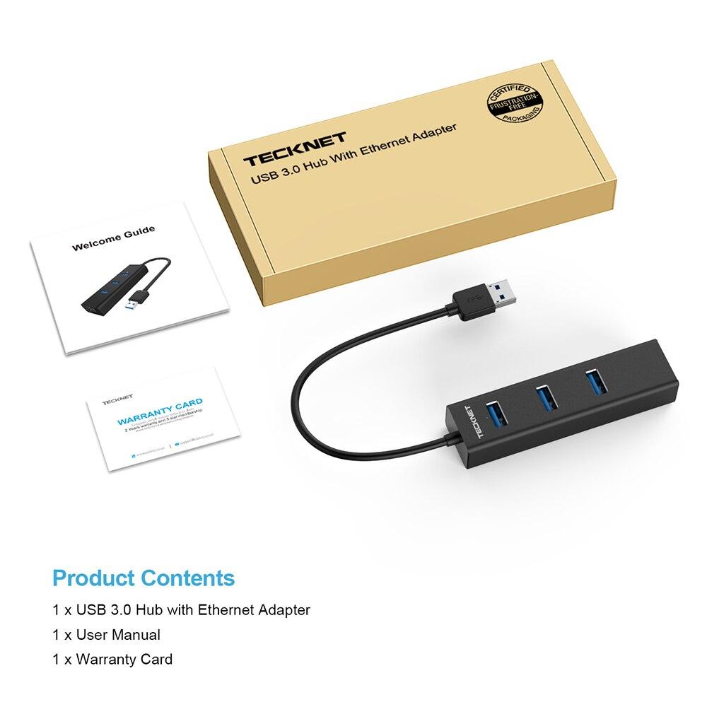 TECKNET Aluminum 3-Port USB 3.0 Hub with RJ45 10//100//1000 Gigabit Ethernet LAN