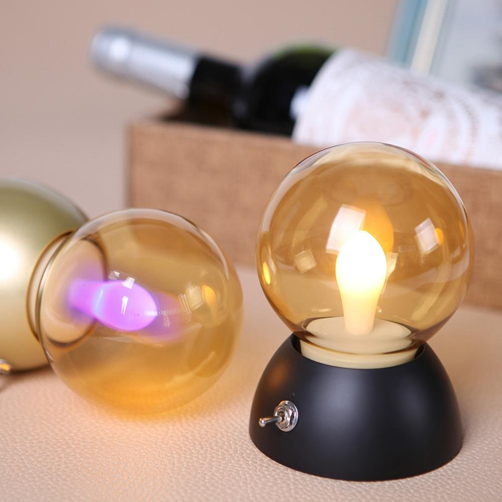 SOLLED Vintage Bulb Light Retro Wireless Night Light Portable Bedside Light Rechargeable Table Lamp