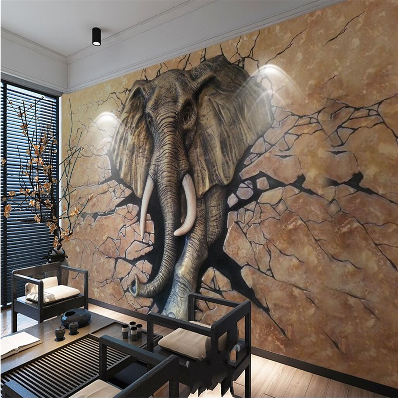 beibehang Customize any size Wallpaper Mural 3D Stereo Relief Elephant Walls into Workplace Background Wallpapers 3d flooring beibehang modern luxury circle design wallpaper 3d stereoscopic mural wallpapers non woven home decor wallpapers flocking wa
